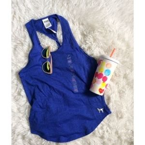 PINK royal blue racer back twist back top NWT